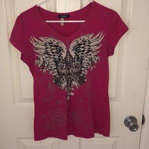 Cute pink wings and rhinestone top sz M